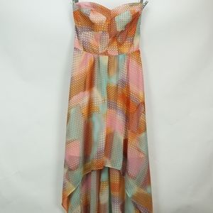 Guess Print High Low Strapless Dress 0